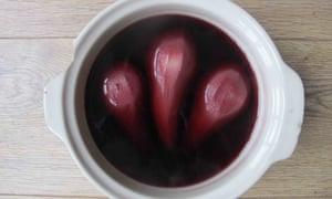 Elizabeth David's poached pears