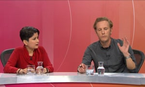 Laurence Fox (right) holds court on BBC Question Time.