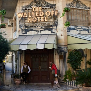 Exterior of Banksy's Walled Off hotel in Bethlehem