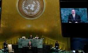 Azerbaijan's president Ilham Aliyev addresses the UN in New York