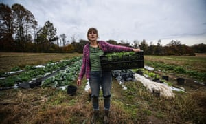 Liz Whitehurst, owner of Owl's Nest Farm outside of Washington DC, in one of her fields.
