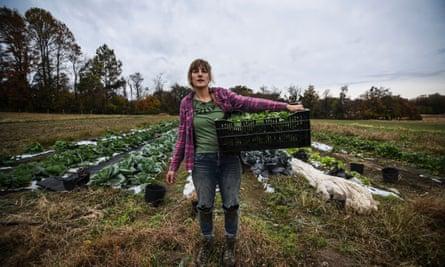 Liz Whitehurst, owner of Owl's Nest Farm outside of Washington DC, in one of her fields.