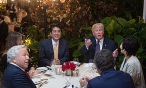 Donald Trump dines with the Japanese prime minister, Shinzo Abe, and their wives, along with Robert Kraft, owner of the New England Patriots, at Trump's Mar-a-Lago resort on 10 February 2017.