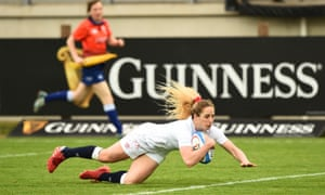 Abby Dow of England scores their third try.