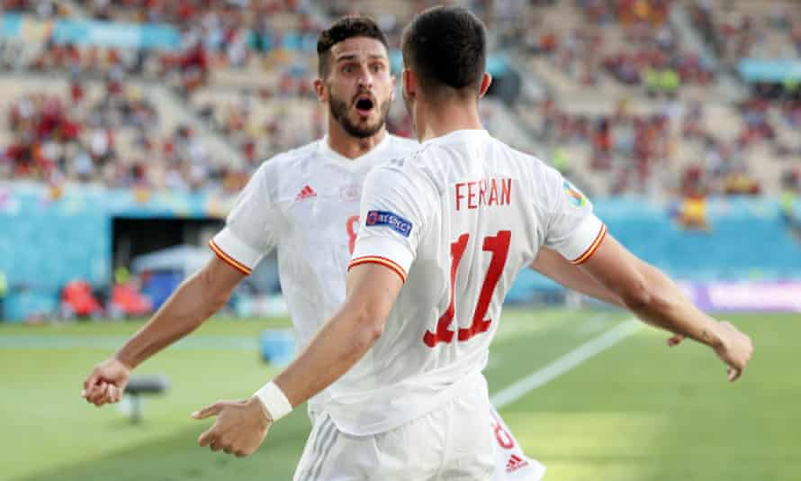 Ferran Torres of Spain (right) celebrates with Koke after scoring to make it 4-0