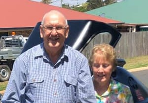 Des Williams, who died from coronavirus on 2 April in a Toowoomba hospital, and his wife Bev. The 85-year-old was a passenger on the Ruby Princess cruise ship.