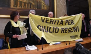 Banner displayed in Rome in 2016, for the Cambridge PhD student Giulio Regeni, who was tortured and killed in Egypt.