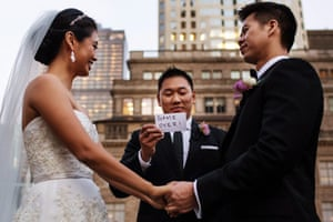 Funny card during wedding ceremony