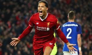 Liverpool met Everton in the third round in 2018, when Virgil van Dijk scored in the Reds' 2-1 win