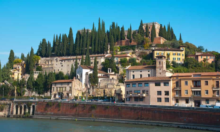 Verona's archeology museum with the Castel San Pietro in the background, Verona, Italy.