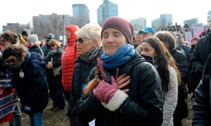 US-POLITICS-PROTEST-WOMENWendy Jehlen is emotional as she watches a friend on stage during the 2019 Women's March at Boston Common in Boston, Massachusetts, January 19, 2019. (Photo by Joseph PREZIOSO / AFP)JOSEPH PREZIOSO/AFP/Getty Images