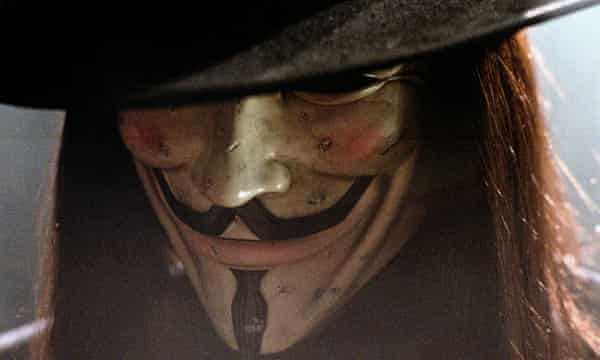 Hugo Weaving in the 2005 film adaptation of V for Vendetta. The Guy Fawkes disguise was then adopted by Anonymous hacktivists.