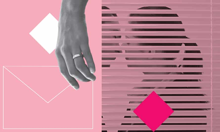 Illustration of hand with wedding ring, opposite couple kissing, against a pink background