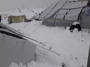 Snow blankets the al-Hawl camp in north-east Syria this month.