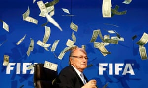 Sepp Blatter of Fifa is showered with Brodkin's fake cash.