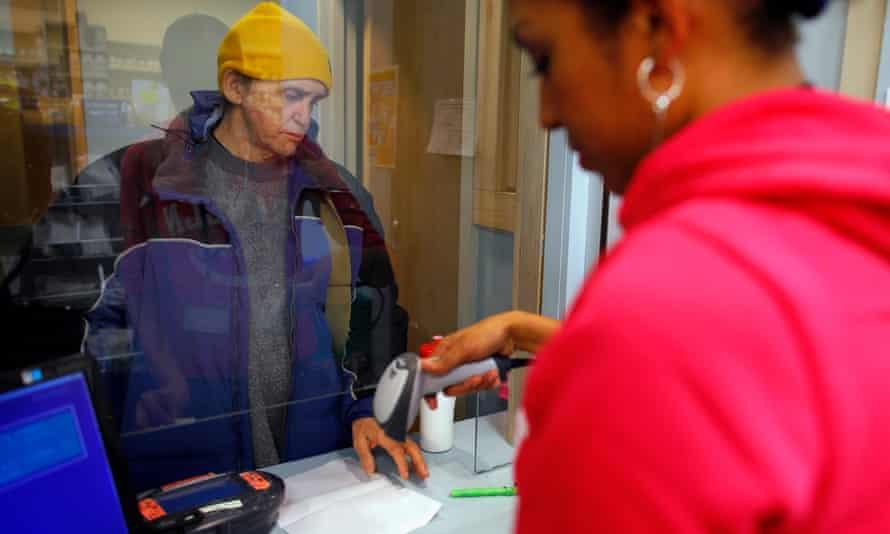 A patient picks up a Suboxone prescription as part of his treatment regimen for opiate dependency in Boston.