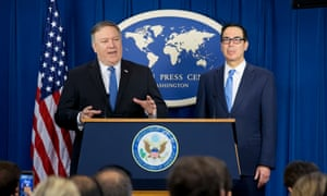 US secretary of state Mike Pompeo and US Treasury secretary Steve Mnuchin announce sanctions against Iran on 5 November 2018.