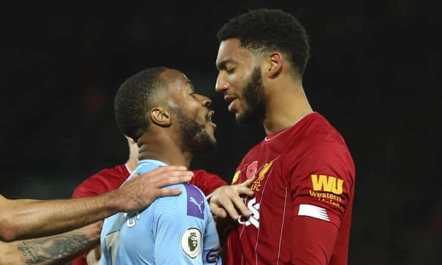 Raheem Sterling (left) and Joe Gomez of Liverpool squared up during Manchester City's 3-1 defeat at Anfield.