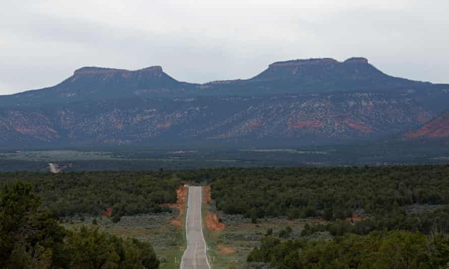 The twin rock formations that form part of Bear Ears national monument in Utah.