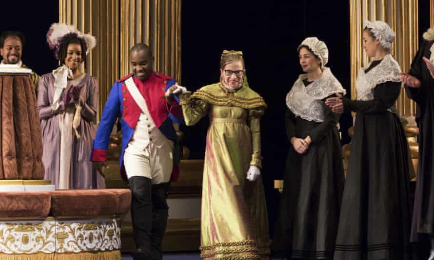 A photo released by the Washington National Opera shows Ruth Bader Ginsburg, center, as the Duchess of Krakenthorp in a dress rehearsal of Donizetti's The Daughter of the Regiment.