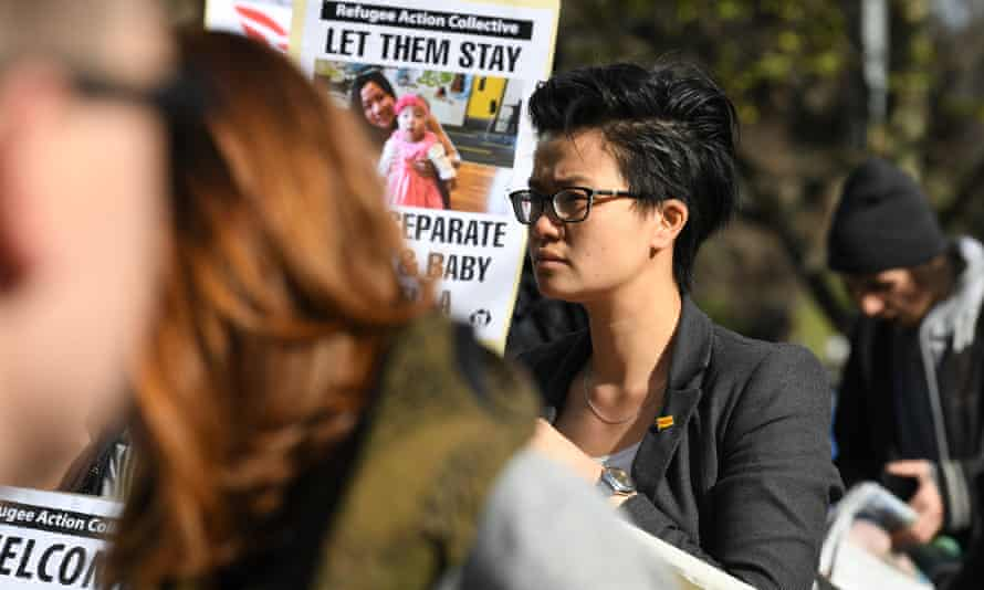 Protesters against the deportation of Vietnamese Catholic asylum seeker Huyen Tran outside the federal circuit court in Melbourne