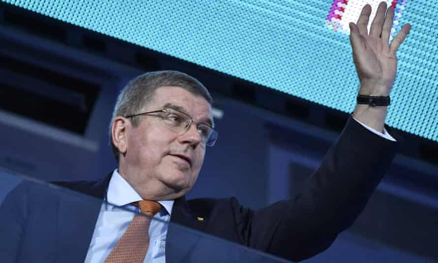 IOC president Thomas Bach at the closing ceremony of the 2019 European Games.