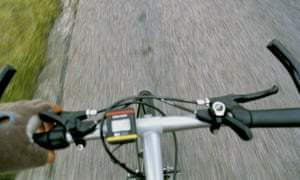 Bicycle handlebars from the cyclist's point of view.