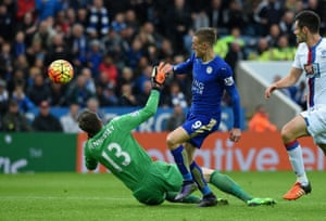 Jamie Vardy beats the Wayne Hennessey became the first Leicester player since Arthur Rowley in 1956-57 to score in seven successive league games. He struck when Brede Hangeland's awkward error allowed Riyad Mahrez to play him in to dink the ball over Wayne Hennessey and run round the other side to score.
