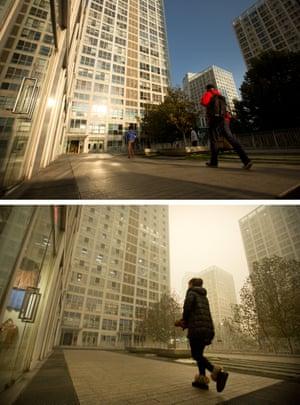The same spot in Beijing on 1 November and 1 December.
