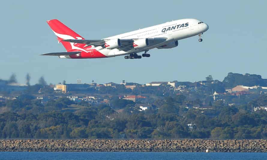 A Qantas A380 jet takes off from Sydney airport. Australian residents normally resident overseas are now captured by the border ban.