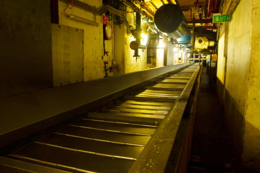 A conveyer belt at the Elizabeth factory.