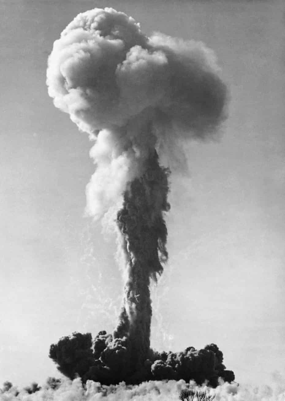 Cloud formed by an atomic bomb explosion in Maralinga, South Australia.