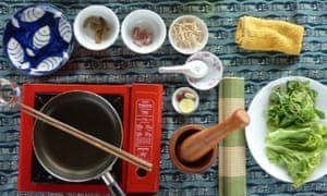 Photo taken from directly above an array of dishes and food from a cookery class in Hoi An, Vietnam.