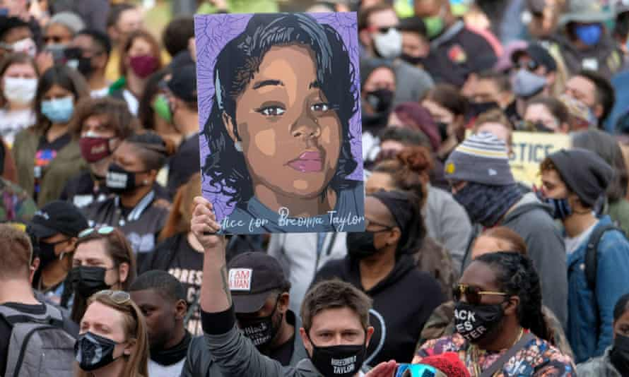 A rally in remembrance of Breonna Taylor in Louisville, Kentucky on 13 March 2021.
