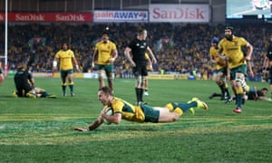 Nic White scores a crucial try against the All Blacks.