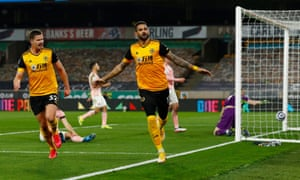 Wolverhampton Wanderers' Willian Jose celebrates scoring their first goal.