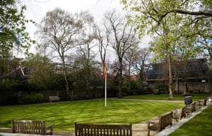 The MCC flag in the Coronation Garden at Lord's is seen at half-mast after the death of its former president, Prince Philip, the Duke of Edinburgh.