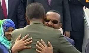 Abiy Ahmed and Isaias Afwerki embrace