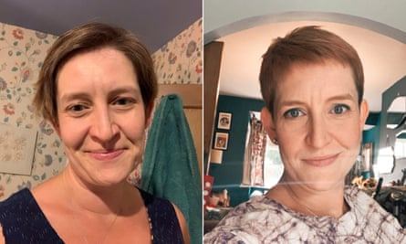 Helen Burridge's before and after haircuts.