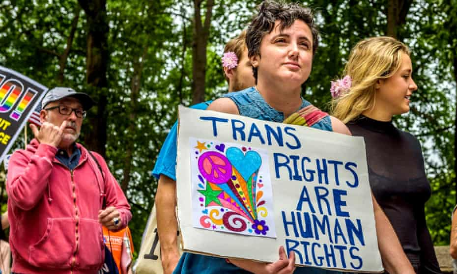 New Yorkers protest against discrimination towards the LGBT community in the aftermath of the decision to ban transgender people from serving in the US military, in July 2017.