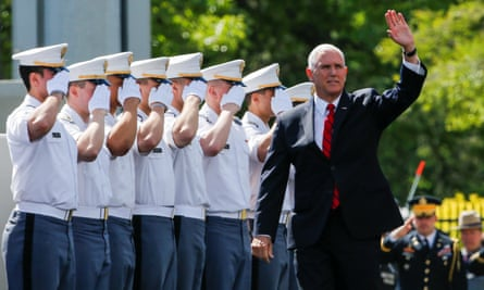 Mike Pence at West Point on Saturday. He said: 'Donald Trump is the best friend the men and women of our armed forces will ever have.'