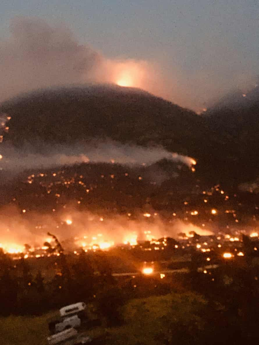 Wildfires can be seen burning around Lytton, British Columbia. Courtesy of Jack Zimmerman
