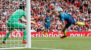 West Ham's Marko Arnautovic heads at Petr Cech's goal before scoring the opener.