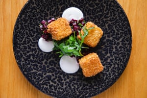 Legna's smoked eel with beetroot, horseradish and blackberries: 'Neither hideous nor delicious.'