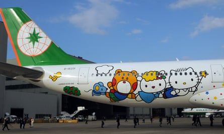 The Taiwanese airline EVA Air flies seven Hello Kitty-themed jets.