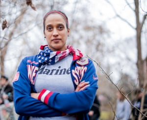 """Rachelle Vyas from Accokeek, Maryland age 36, a veteran USMC - captain, """"I'm marching to support women veterans."""""""