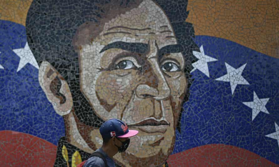 A mural with the image of Simón Bolívar in Caracas, Venezuela.
