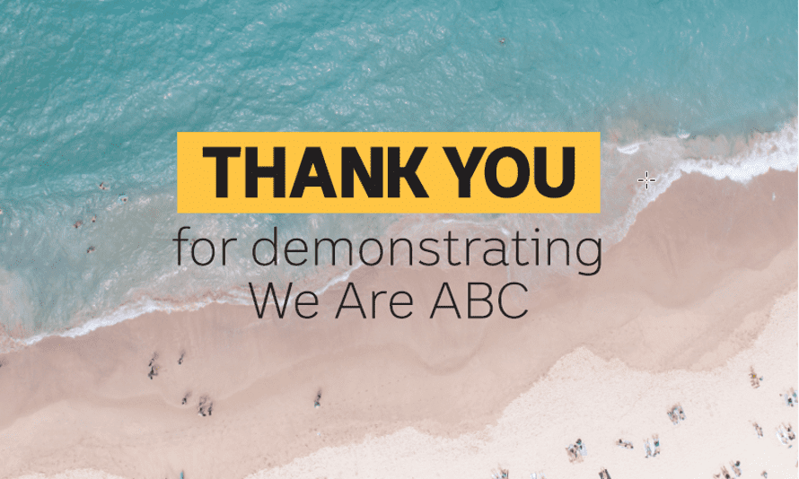 The ABC's new internal Recognition Thank You cards
