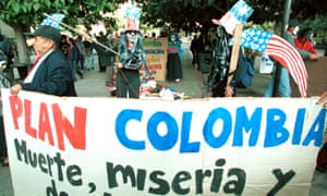 Colombian university students stage a protest against the Plan Colombia in 2001.