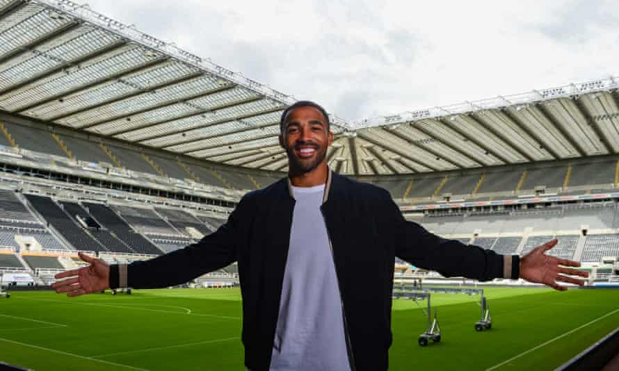 Callum Wilson, one of three Newcastle signings in recent days, poses at St James' Park.